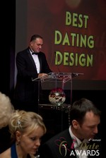 Nick Tsinonis announcing the Best Dating Design at the 2013 Internet Dating Industry Awards Ceremony in Las Vegas