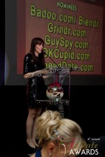 Julie Spira announcing the winner of Best Mobile Dating App at the 2013 Las Vegas iDate Awards Ceremony